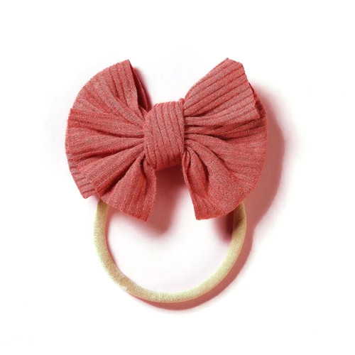 Ribbed Skinny Bow, Raspberry