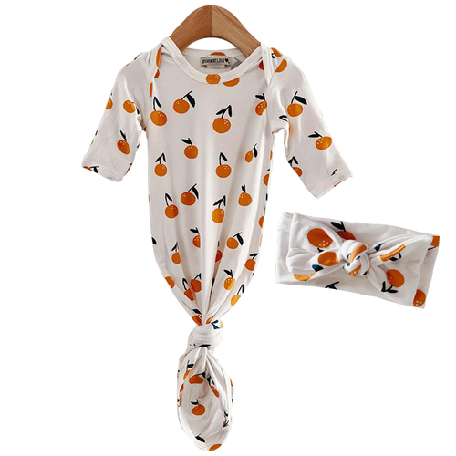 Knotted Gown & Bow Set, Oranges