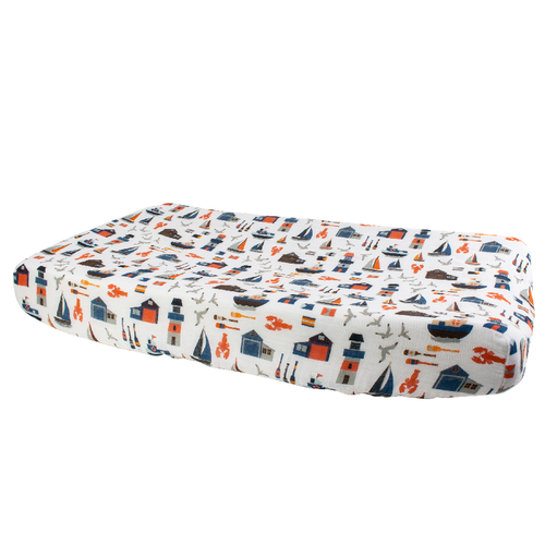 Muslin Changing Pad Cover, Nautical