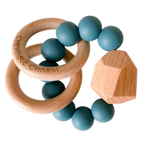 Hayes Silicone + Wood Teether, Teal