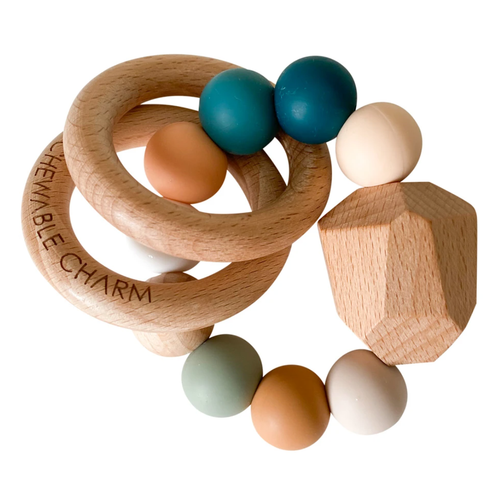 Hayes Silicone + Wood Teether, Summer