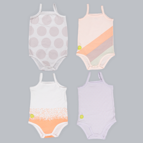 4 Piece Sleeveless Bodysuit Set, Peach/Lavender