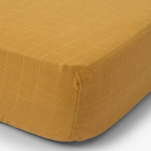 Muslin Fitted Crib Sheet, Mustard