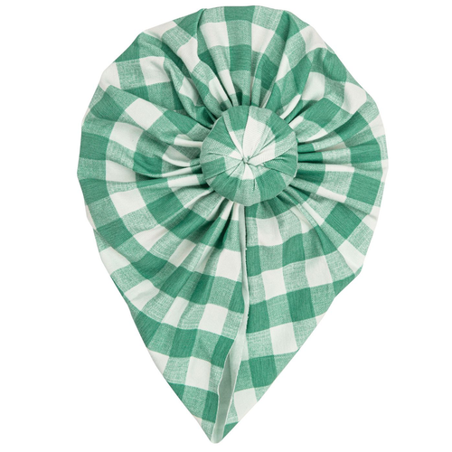 Knot Turban, Gingham Green