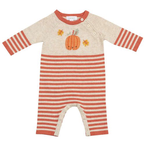 Knit Romper, Pumpkin