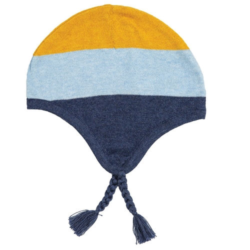 Knit Pilot Hat, Blue/Mustard