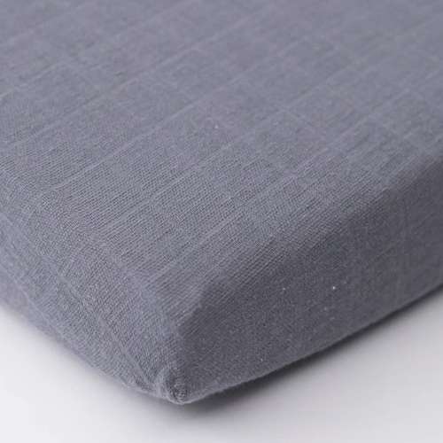 Muslin Mini Fitted Crib Sheet, Charcoal