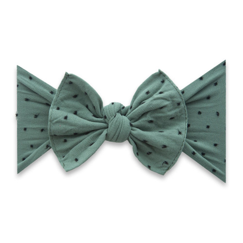 Knot Bow, Shabby Fern w/ Black Dots