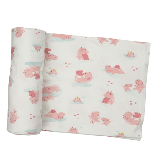 Bamboo Stretch Swaddle, Pink Hippo