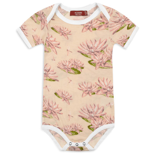 Bamboo Short Sleeve Bodysuit, Water Lily