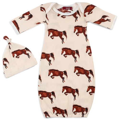 Organic Newborn Gown & Hat Set, Natural Horse