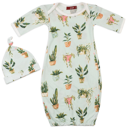 Bamboo Newborn Gown & Hat Set, Potted Plants