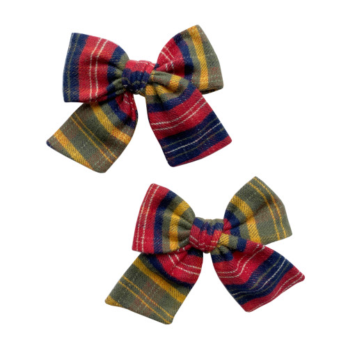 2-Pack Big Cotton Bow Clips, Hunter Flannel