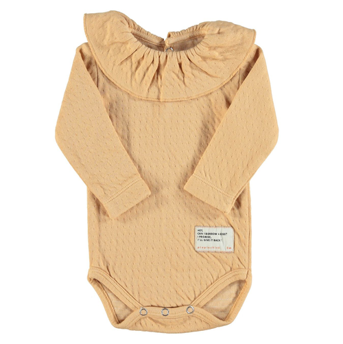 Long Sleeve Bodysuit w/ Collar, Caramel