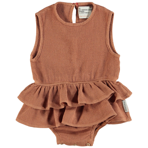 Sleeveless Bodysuit w/ Frills, Pecan Nut
