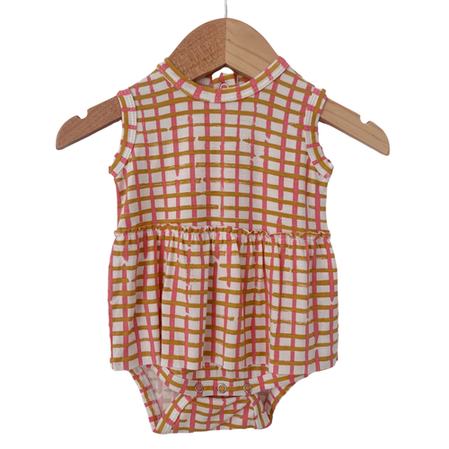 Sleeveless Skirted Bodysuit, Pink Check
