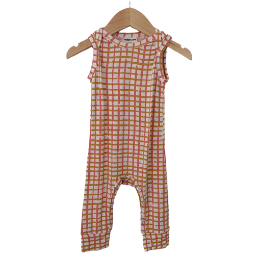 Sleeveless Romper, Pink Check