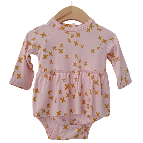 Long Sleeve Skirted Bodysuit, Pink Kisses