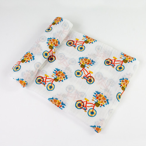 Floral Bicycle Muslin Swaddle