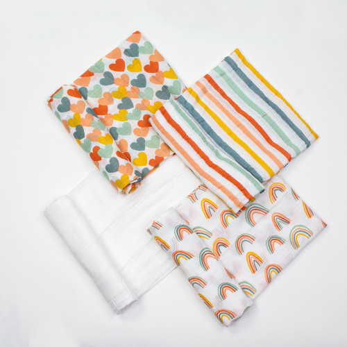 Muslin Swaddle Set 4-pack, Sweet Hearts