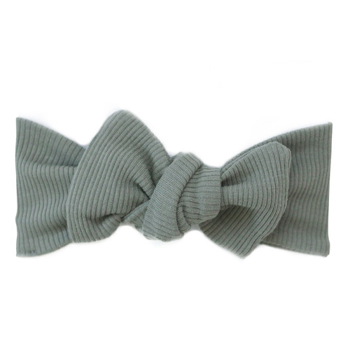 Organic Cotton Ribbed Headwrap Bow, Green