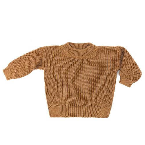 Crew Neck Pullover Sweater, Pecan