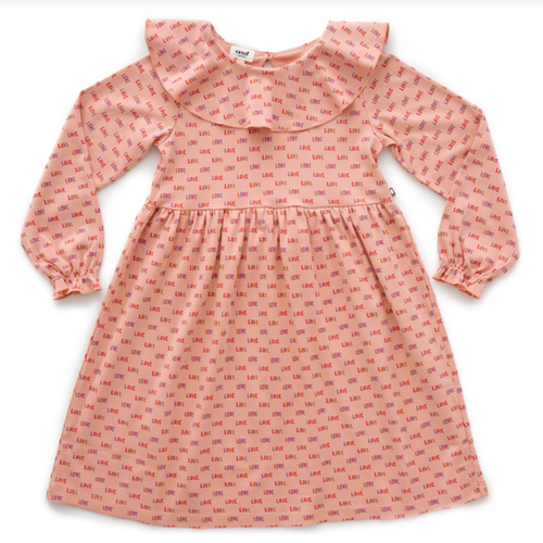 Oeuf Ruffle Collar Dress, Peony/Love