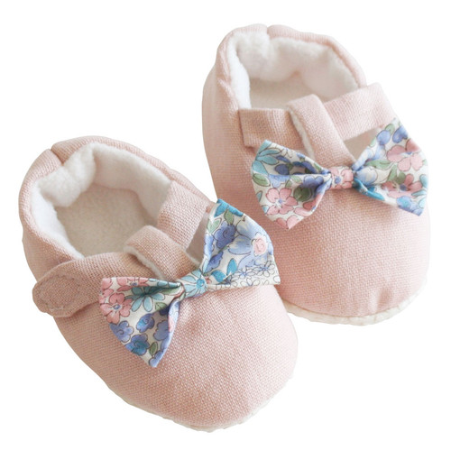 Bow Booties, Pink/Liberty Blue