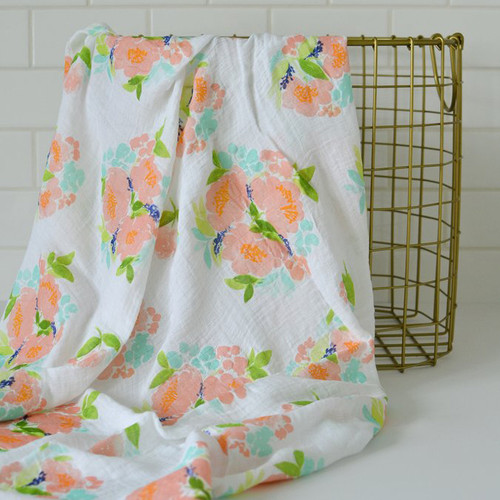 Spring Floral Bamboo Swaddle