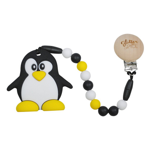 Teether with Clip, Penguin