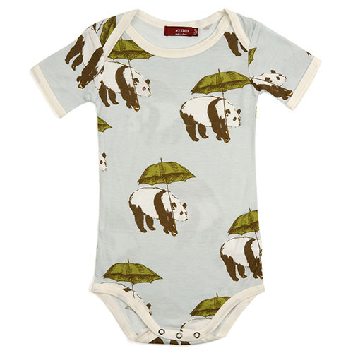 Green Umbrella Panda Short Sleeve Bodysuit