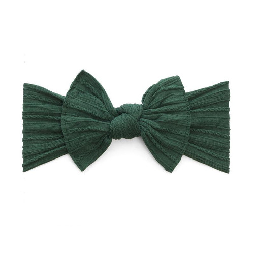 Cable Knit Knot Bow, Forest Green
