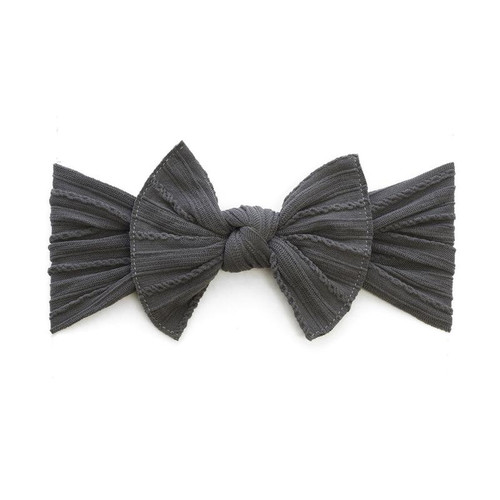 Cable Knit Knot Bow, Charcoal