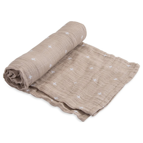 Muslin Swaddle, Taupe Cross