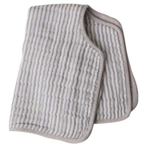 Muslin Burp Cloth, Grey Stripe