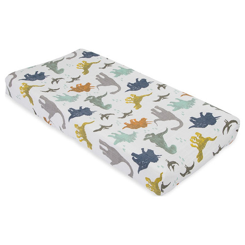 Muslin Changing Pad Cover, Dino Friends