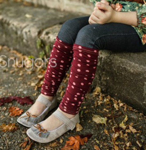 Legwarmers, Red/Cream Dot