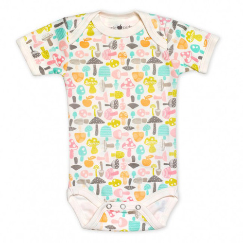 Organic Cotton Short Sleeve Bodysuit, Mushrooms