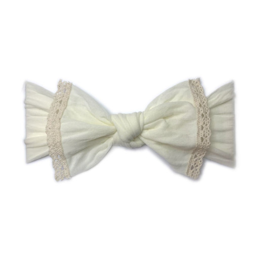 Trimmed Knot Bow, Ivory Lace