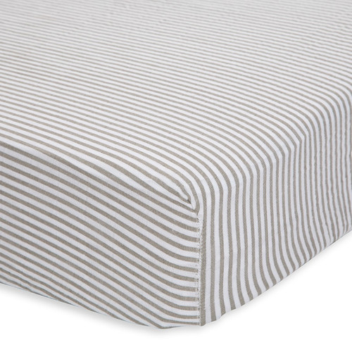 Muslin Fitted Crib Sheet, Grey Stripe