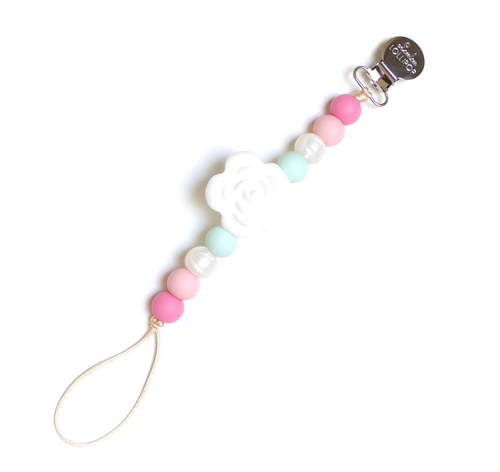 Lolli Silicone Flower Pacifier Clip, Mint Pink