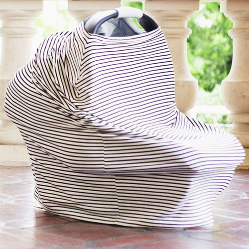 Covered Goods Multi Use Car Seat Cover, Black & Ivory Pinstripe