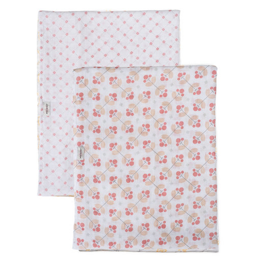Muslin Swaddle Set, Dewberry & Lattice