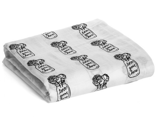 Organic Cotton Muslin Swaddle, Love Grows Here