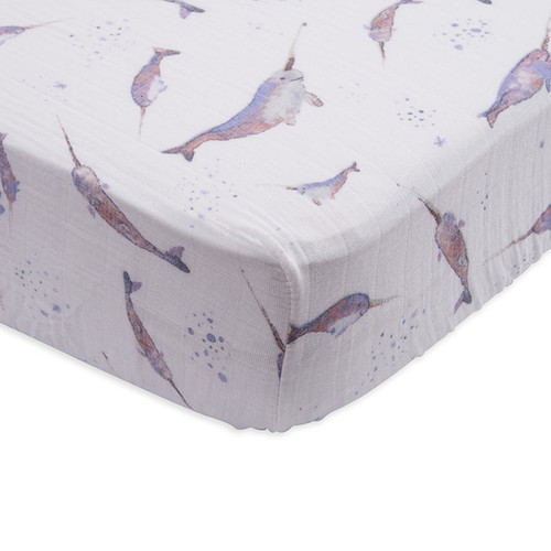 Muslin Fitted Crib Sheet, Narwhal