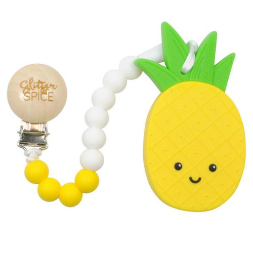 Teether With Clip, Pineapple