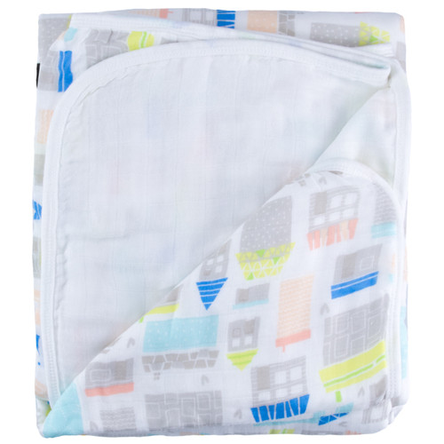 Triple Layer Muslin Blanket, Tiny Village