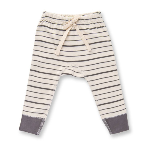 Organic Cotton Pants, Charcoal French Stripe