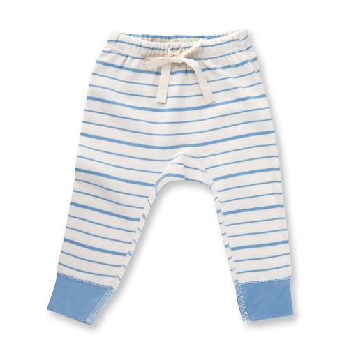 Organic Cotton Pants, Blue French Stripe