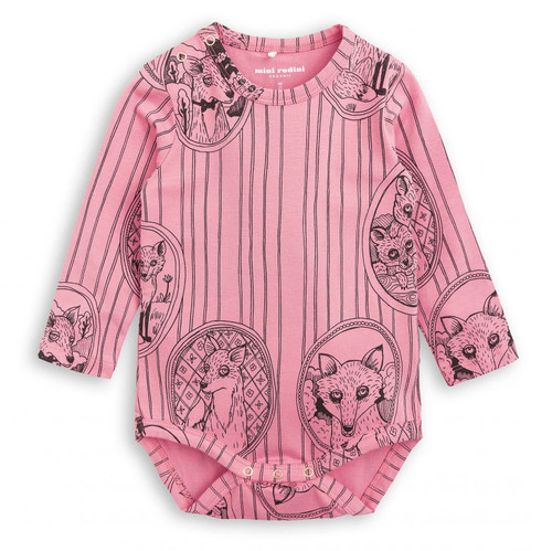 Mini Rodini Fox Family LS Body, Pink